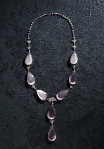CH115 - Necklace made of sterling silver-with cat eye quartz stones and zircon