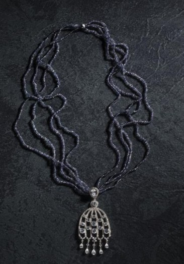 CH118 - Necklace made of iolite and a sterling silver pendant with zircon