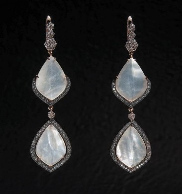 CH123 Earrings made of gold plated silver pink gold with mother of pearl and zircon