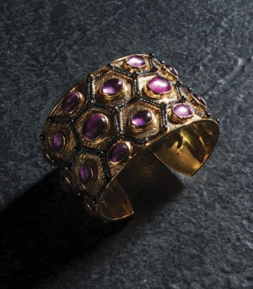 CH128 Gold plated silver cuff bracelet with colored cabochon crystals -2