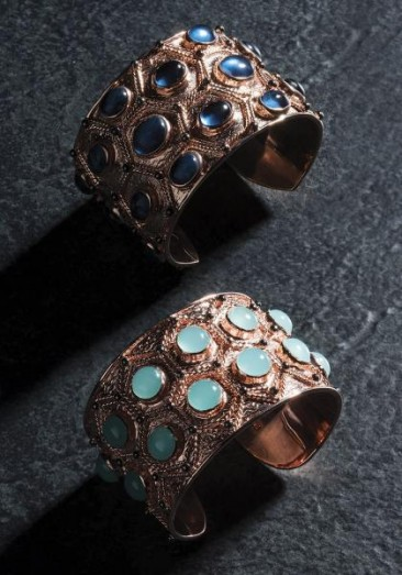 CH128 Gold plated-silver cuff bracelet with colored cabochon crystals