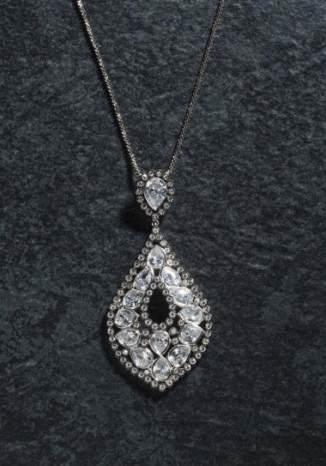 CH129 - Pendant with chain made of sterling silver with crystals and zircon-2