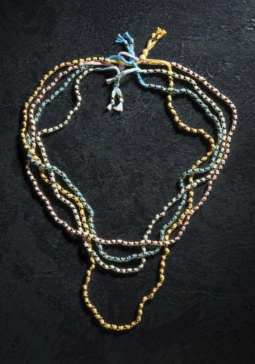 CH160 - Knitted cotton necklace with gold plated beads of bronze