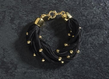 CH189 - Bracelet made of cotton and gold plated beads of bronze