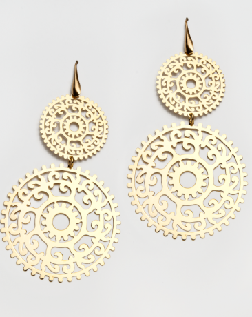"S-OR-0873 Gold plated silver earrings ""Sun-Star"""