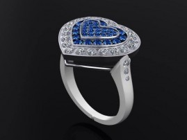 ANNIVERSARY RING. ONE OF A KIND MADE OF 18K WHITE GOLD   BRILLIANT CUT  DIAMONDS AND ROUND SAPHIRES